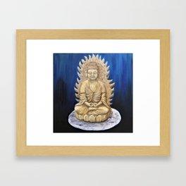 Meditation Buddha Oil Painting Still Life Peaceful Spiritual (Tranquil Space) Framed Art Print
