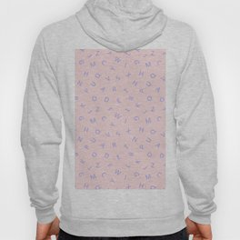 Scattered Alphabet Blue on Pink Hoody