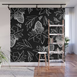 Tropical Ginger Plants in Black + White Wall Mural