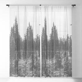 Mount Rainier Adventure VI - Pacific Northwest Mountain Forest Wanderlust Sheer Curtain