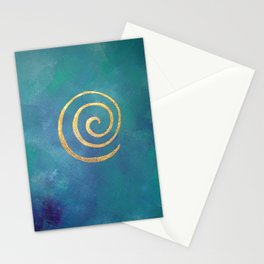Philip Bowman Infinity Bright Blue And Gold Abstract Modern Art Painting Stationery Cards