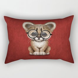 Cute Cougar Cub Wearing Reading Glasses on Red Rectangular Pillow