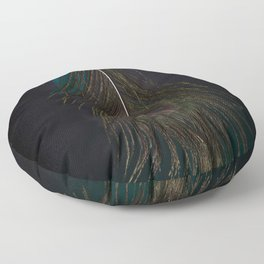 Mystical Fantasy Elegant Blue Tropical Peacock Feather Dark Design Floor Pillow