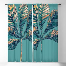 Chestnut leaf in coral and dark blue colors Blackout Curtain