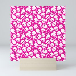 Bones and Skulls on Pink Background Mini Art Print