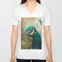 peacock V-neck T-shirts featuring Peacock by Pauline Fowler ( Polly470 )