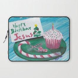 Happy Birthday Jesus Christmas Card Laptop Sleeve
