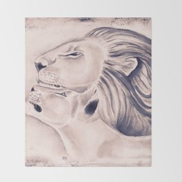 Two Lions Vintage Style Throw Blanket