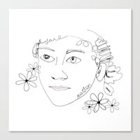 jane austen Canvas Prints featuring Jane Austen by Skatty k