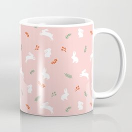 White bunnies in pink background floral pattern Coffee Mug