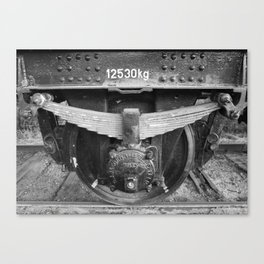 Old train wheel BW Canvas Print