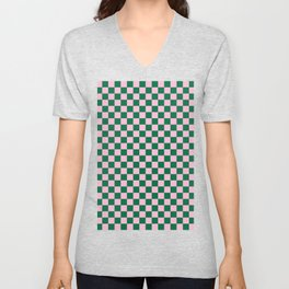Cotton Candy Pink and Cadmium Green Checkerboard Unisex V-Neck