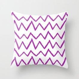Hand-Drawn Zig Zag (Purple & White Pattern) Throw Pillow