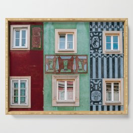 Abstract pattern in facades of Poznan, Poland || cityscape city streetview urban architecture digital photo || Travel photography from east Europe Serving Tray