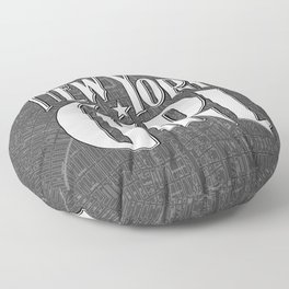 New York Girl B&W / Vintage typography redrawn and repurposed Floor Pillow