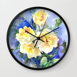 Yellow Roses and Blue , garden floral art, yellow blue watercolor Wall Clock