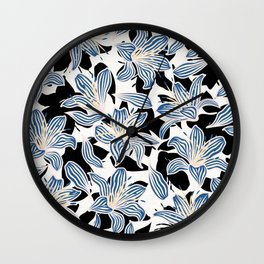 Exotic Florals in Blue and Light Yellow Wall Clock