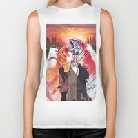 tigers Biker Tanks featuring DUELING TIGERS by ArtBattles