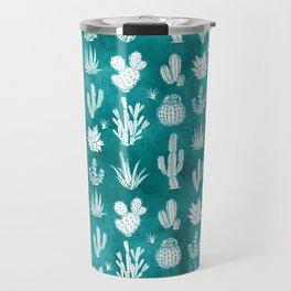 Cactus Pattern on Teal Travel Mug