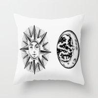 sun and moon Throw Pillows featuring Sun & Moon by Cady Bogart