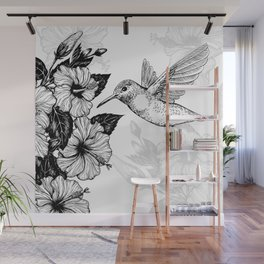 Hibiscus and hummingbird Wall Mural
