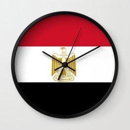 flag of egypt- Egyptian,nile,pyramid,pharaon,cleopatra,moses,cairo,alexandria. Wall Clock