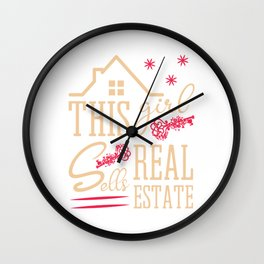 This Girl Sells Real Estate Realty Realtor Agent Property Building Land Key House T-shirt Design Wall Clock