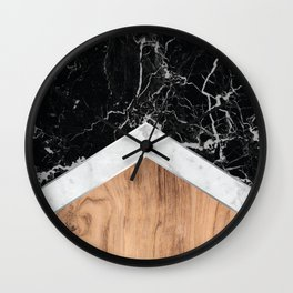 Arrows - Black Granite, White Marble & Wood #366 Wall Clock