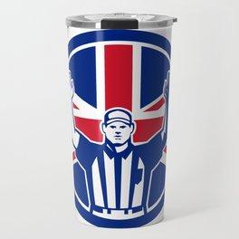 British American Football Referee Union Jack Flag Icon Travel Mug