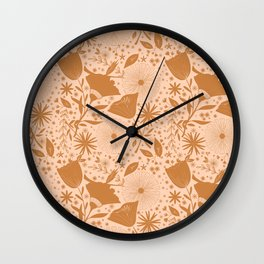 Wildflowers Repeat Pattern Ocher Blush Pink Cottagecore Simple Life Wall Clock