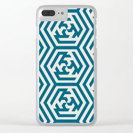 Moroccan Teal Ornate Geometric Pattern Clear iPhone Case