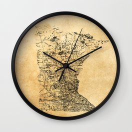 Old Minnesota Map-Vintage and Retro American History Wall Clock