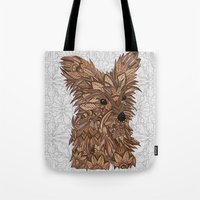 yorkie Tote Bags featuring Cute Yorkie by ArtLovePassion