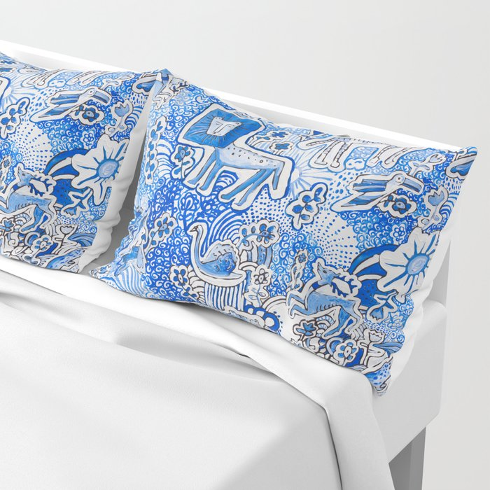 Delft Blue and White Pattern Painting with Lions and Tigers and Birds Pillow Sham