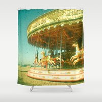 carousel Shower Curtains featuring Carousel by Cassia Beck