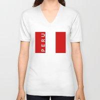 peru V-neck T-shirts featuring flag of Peru by tony tudor