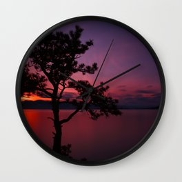 Purple and Red Montana Sunset over Flathead Lake Wall Clock