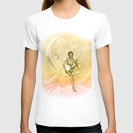 Wonderful fairy on a moon with dove T-shirt