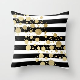 Faux Gold Paint Splatter on Black & White Stripes Throw Pillow