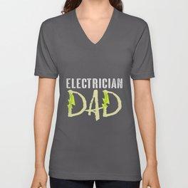 Electrician Dad Gift   Craftsman Technician Worker Unisex V-Neck