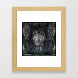 The Winter is here - Wolf Dreamcatcher Framed Art Print