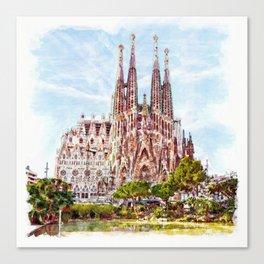 La Sagrada Familia watercolor Canvas Print