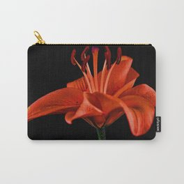 Single Red Lily On Black Carry-All Pouch
