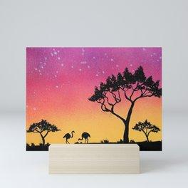 Ostrich Silhouette Mini Art Print