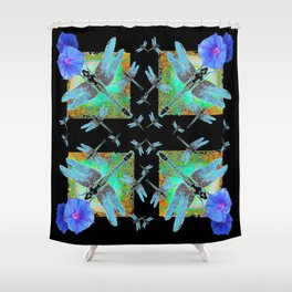 BLUE MORNING GLORIES & DRAGONFLIES BLACK ART Shower Curtain