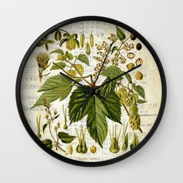 Common Hop Botanical Print on Vintage almanac collage Wall Clock
