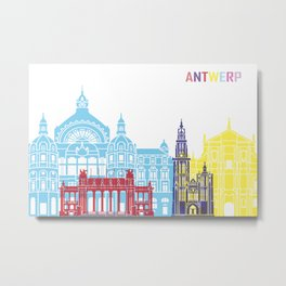 Antwerp skyline pop Metal Print