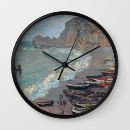 Boats on the Beach at Etretat by Claude Monet Wall Clock