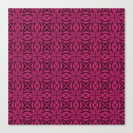 Black and Pink Yarrow Floral Canvas Print