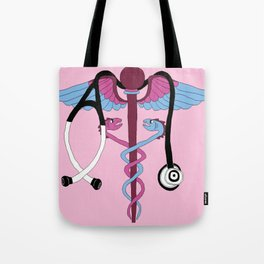 medical caduceus and stethoscope, pink Tote Bag